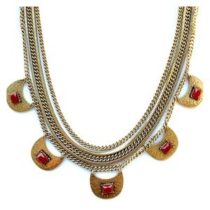 Statement necklace with ruby red stone